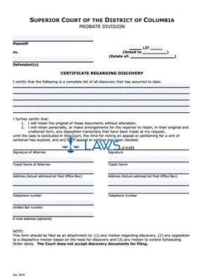 Certificate Regarding Discovery