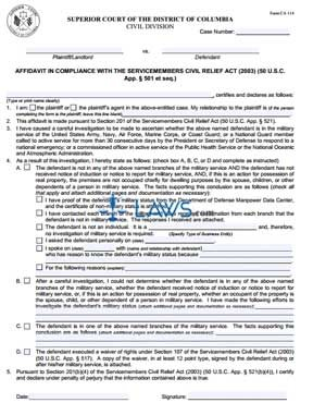 Affidavit in Compliance with the Service Members Civil Relief Act (2003)
