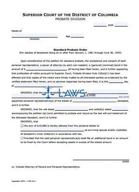 Standard Probate Order