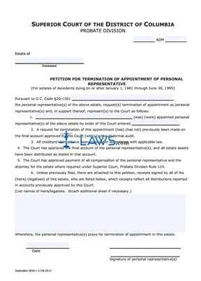 letter appointing a representative petition for termination of appointment of personal 9572