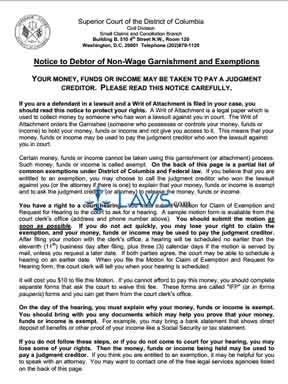 Notice to Debtor of Non-Wage Garnishment and Exemptions