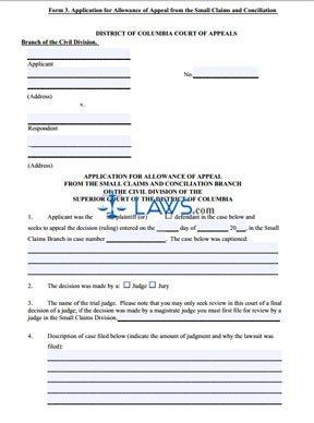 Application for Allowance of Appeal from the Small Claims and Conciliation Branch
