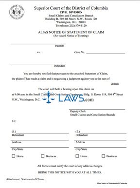 Alias Notice of Statement of Claim