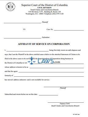 Affidavit of Service on a Corporation