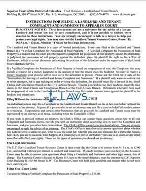 Instructions for Filing a Landlord and Tenant Complaint and Summons to Appear in Court