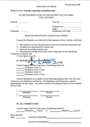Praecipe Requesting Scheduling Order