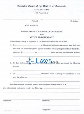 Application for Entry of Judgment and Notice to Defendant