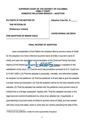 Final Decree Of Adoption Washington Forms Lawscom - Indiana legal forms