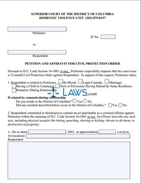 Petition and Affidavit for Civil Protection Order