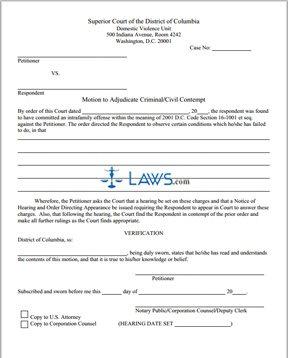 Motion to Adjudicate Criminal/Civil Contempt