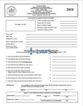 2010 Short Term Daily Rental Certification