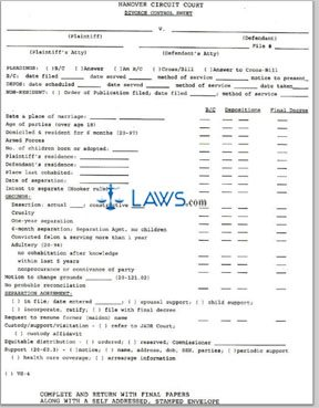 Form Divorce Control Sheet