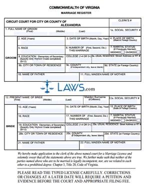 Form Marriage License Application-Alexandria County