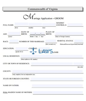 Form Marriage Application-Groom
