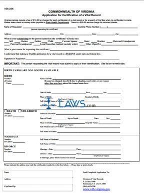 Form VS6 Application for Certification of a Vital Record