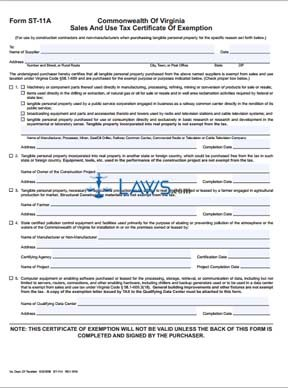 Form ST-11A Sales and Use Tax Certificate of Exmeption - Tax ...