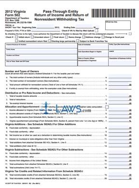 Virginia State Tax >> Form 502 Pass-Through Entity Return of Income and Return ...
