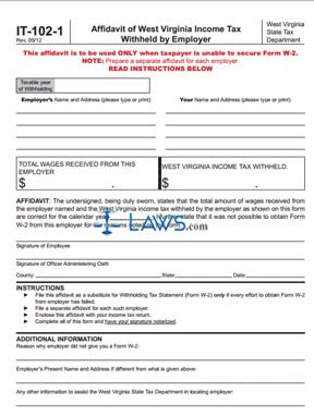 Form It 102 1 Affidavit Of West Virginia Income Tax Withheld By