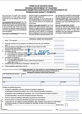 Form VA-4P Withholding Exemption Certificate for Recipients of ...