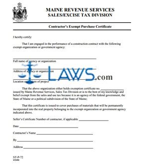 Form ST-P-72 Contractor Exempt Purchase Certificate