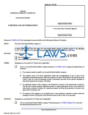 Form MLLC-6 Certificate of Formation