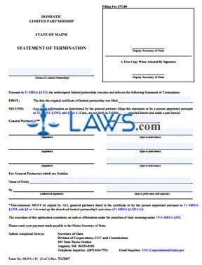 Form MLPA-11C (D) Statement of Termination