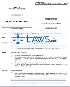 Form MLPA-9 Certificate of Amendment