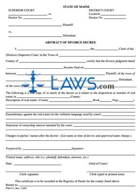 Form FM-171 Abstract of Divorce Decree