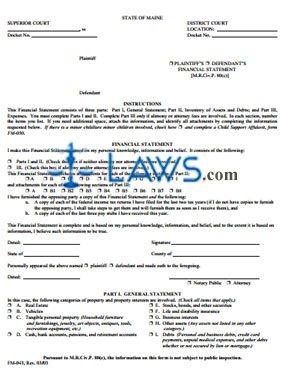 Form FM-043 Financial Statement