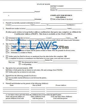 Form FM-004 Divorce Complaint with children
