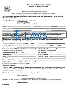 Form Work Restricted Driver's License Petition