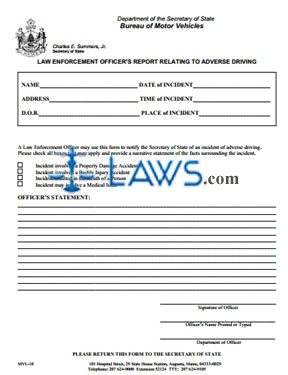 Form MVL-10 Police Officer's Report Relating to Adverse Driving