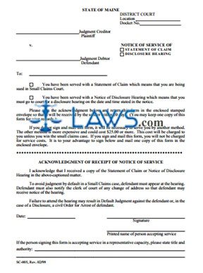 Form SC-005 Notice of Service of Statement of Claim, Disclosure Hearing