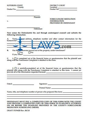 Form FDP-02B Foreclosure Mediation Information Provided By Defendant