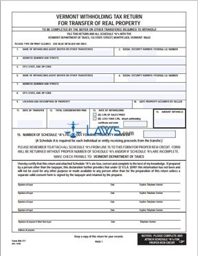 Form RW-171 Withholding Tax Return for Transfer of Real Property