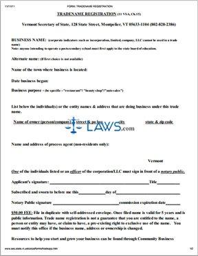 Form VT DBA Tradename Registration - Vermont Forms -   Laws.com