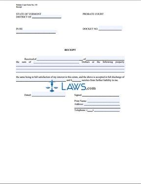 Form Probate Court Receipt