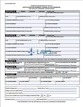 Form DH-PHS-MARAPP-2009 Application for Vermont License of Civil Marriage