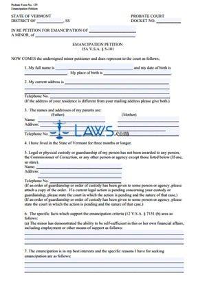 Form 125 Emancipation Petition