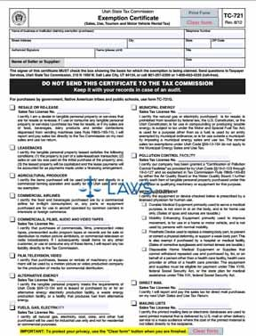Form TC 721 Exemption Certificate