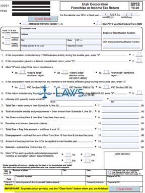Form TC-20 Franchise or Income Tax Return