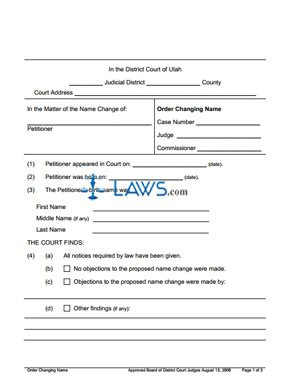 Form Order Changing Name Adult