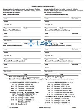 Form Cover Sheet for Civil Actions