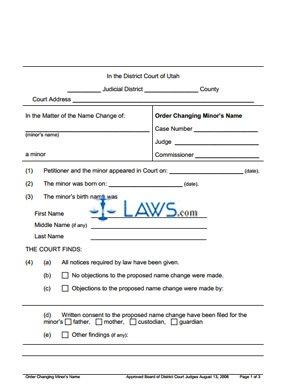 Form Order Changing Name Minor