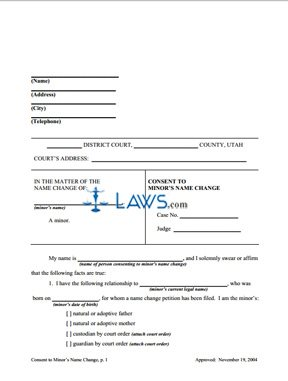 Form Consent to Minor's Name Change