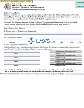 Form Letter of Cancellation (LLP)