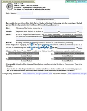 Form Certificate of Cancellation for a Limited Partnership