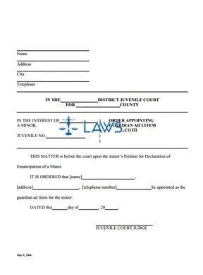 Form Order Appointing Guardian Ad Litem