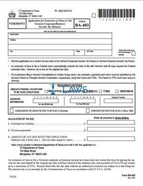 form ba403 extension of time application vermont forms