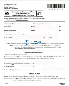 Form IN-151 Application of Extension of Time to File Form IN-111